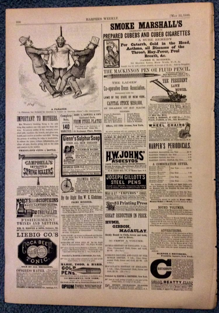 ANTIQUE 1880 Harper's Weekly 19th Century Advertising