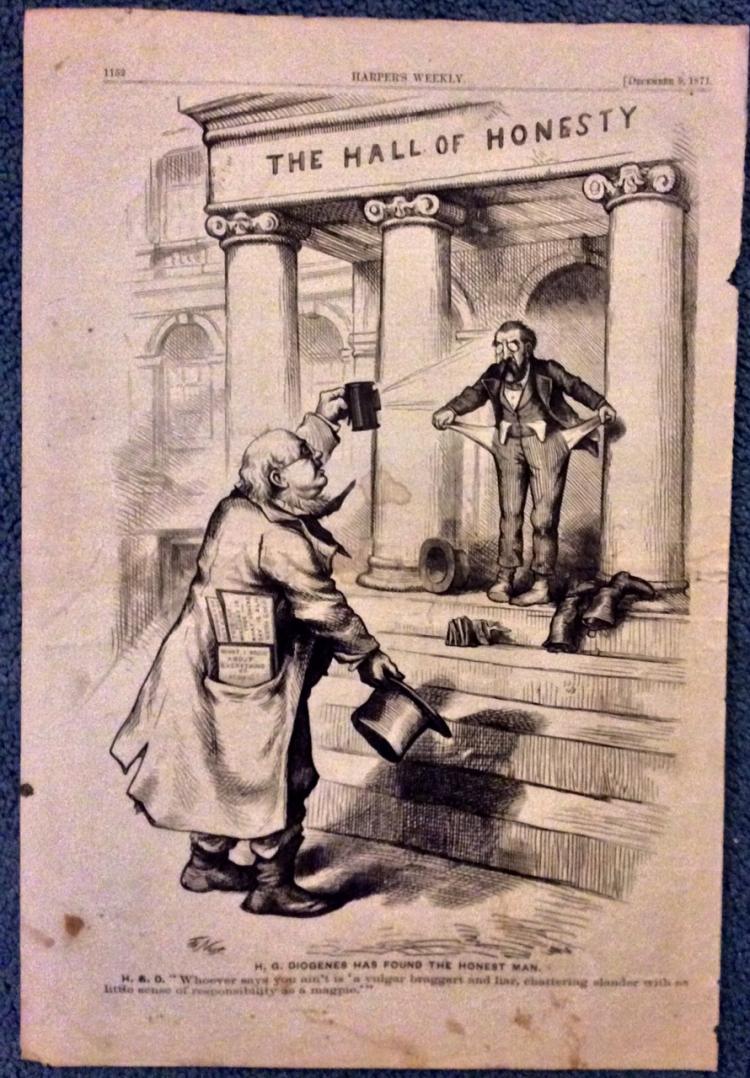 ANTIQUE 1871 Thomas Nast Full Page Harper's Weekly Cartoon