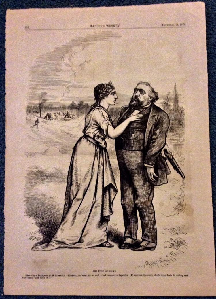 ANTIQUE 1878 Thomas Nast Full Page Harper's Weekly Cartoon
