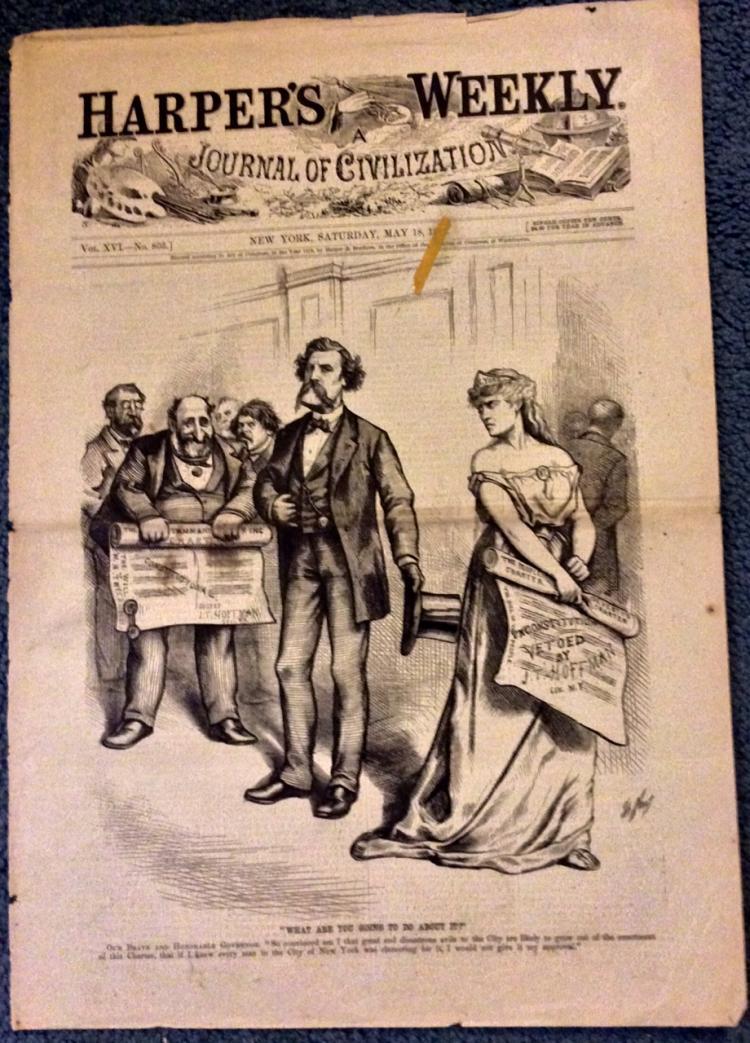 ANTIQUE 1872 Thomas Nast Full Page Harper's Weekly Cartoon