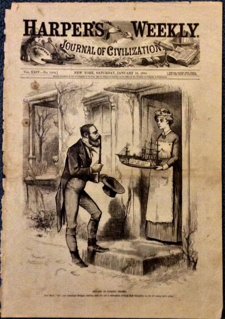 ANTIQUE 1880 Thomas Nast Full Page Harper's Weekly Cartoon