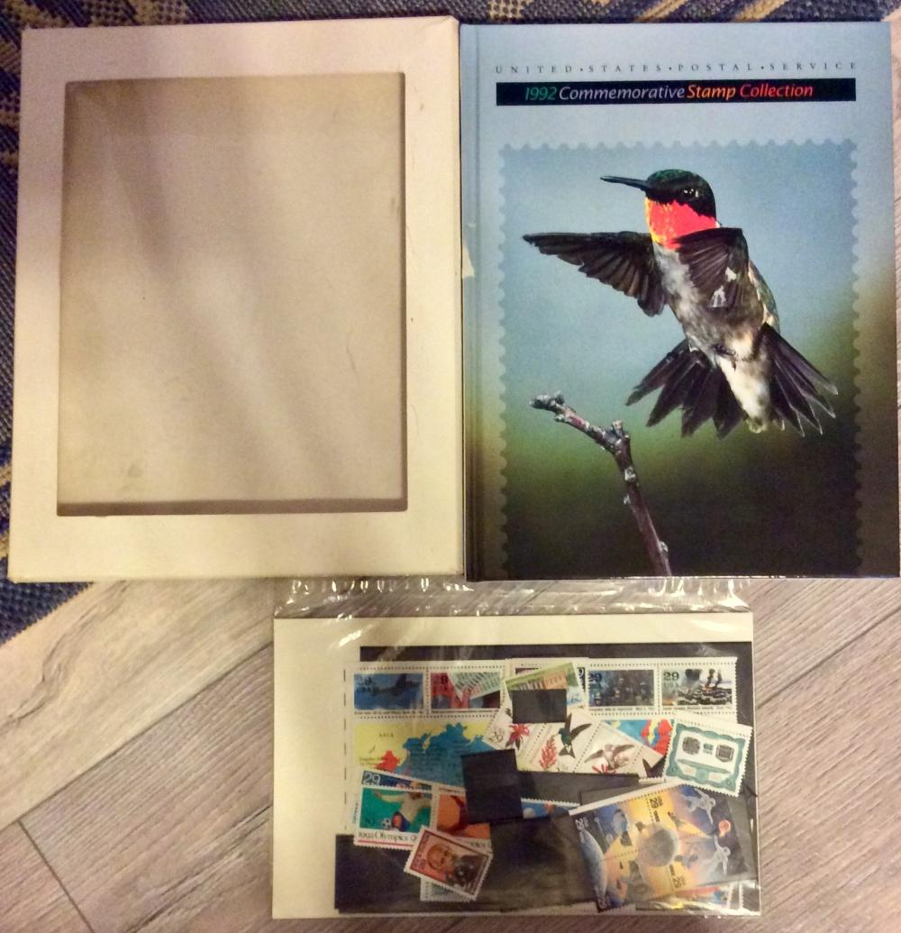 VINTAGE USPS 1992 Commemorative Stamp Hardcover & complete UNSED $16+ Stamp Set In Package.