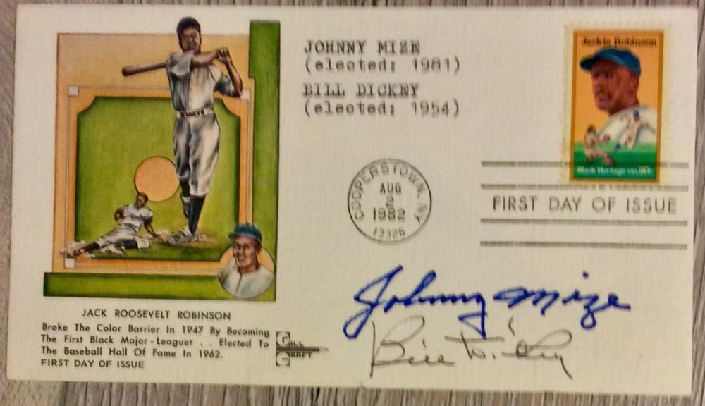 Johnny Mize & Bill Dickey VINTAGE 1982 Jackie Robinson First Day Cover SIGNED by HOF BB Players Johnny Mize & Bill Dickey