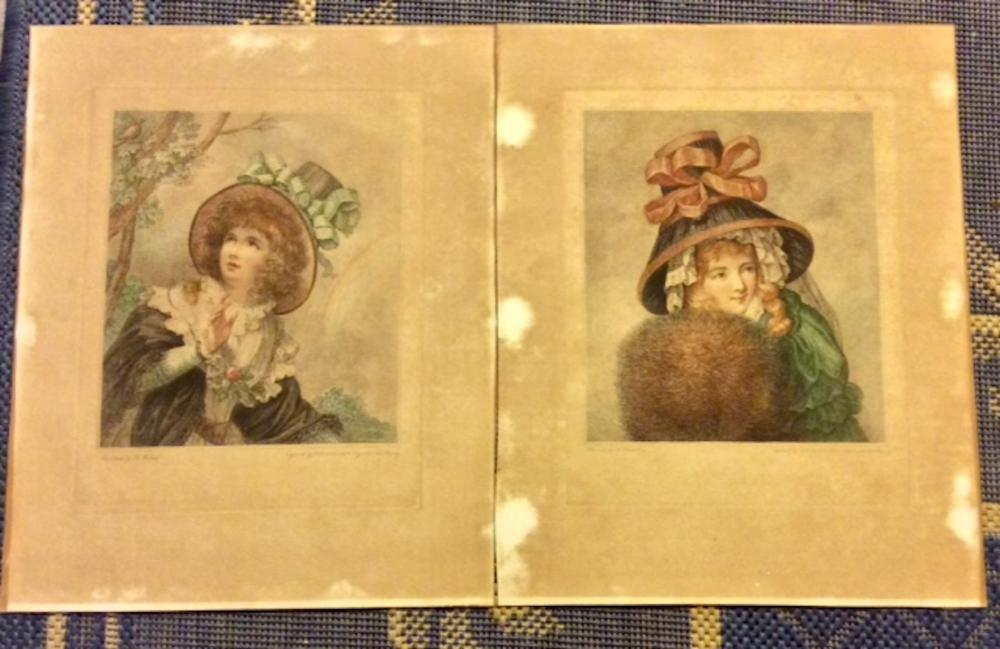 (2) SCARCE ANTIQUE Old Master 18th Century Color engravings by Francesco Bartolozzi Titled Spring & Winter