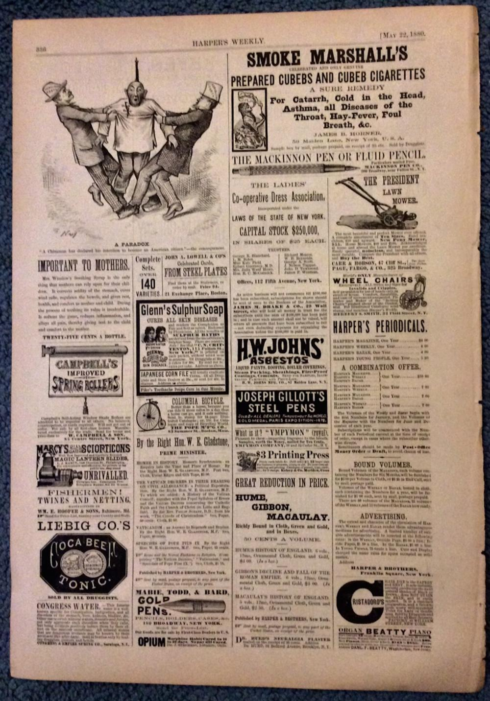 ANTIQUE 1880 Harper's Weekly 19th Century Double-sided Advertising Page