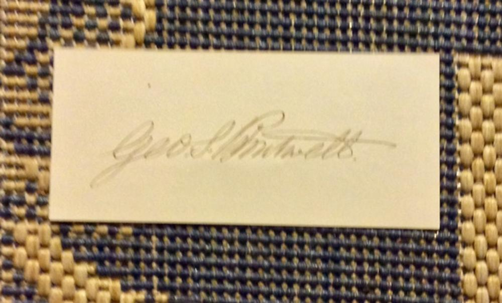 George S Boutwell ANTIQUE 2 Inch high by 4 Inch wide Slip of Paper W/ Autograph Of George S Boutwell Abolitionist & Republican Party Founder