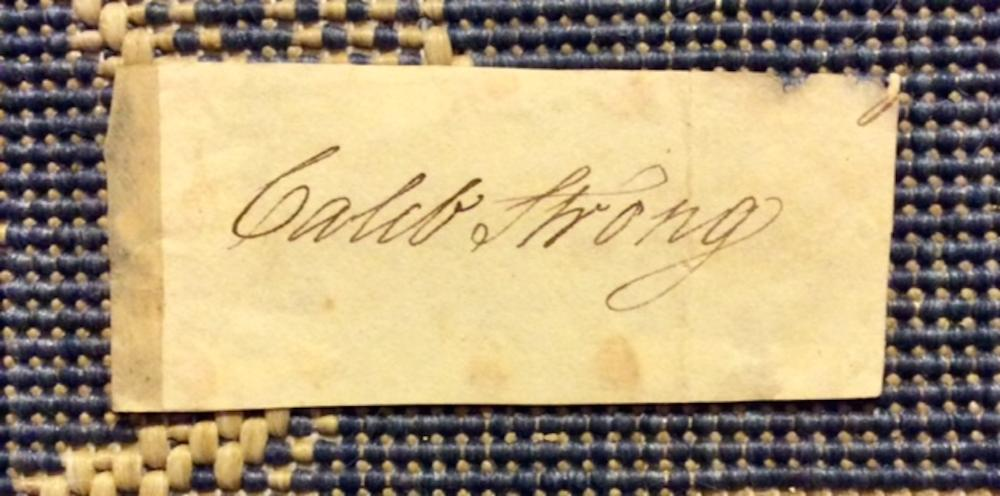 Caleb Strong SCARCE ANTIQUE 1 1/2 X 3 1/2 Slip of paper W/ Autograph Of Caleb Strong Massachusetts Politician & American Revolution Patriot
