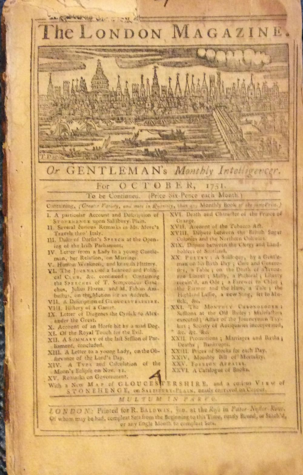 "ANTIQUE ""The London Magazine"" October 1751 Issue. 45 pages"