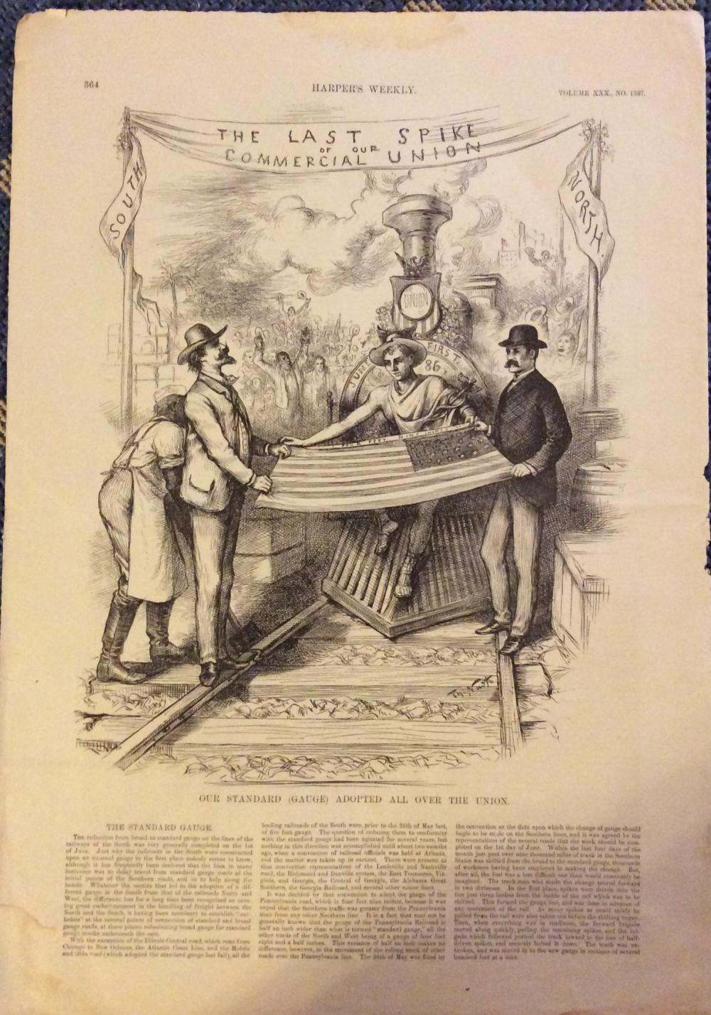 "ANTIQUE 1886 Thomas Nast Image Signed  Harper's Weekly Cartoon Celebrating ""Standard"" Gauge RRs Institution In South"