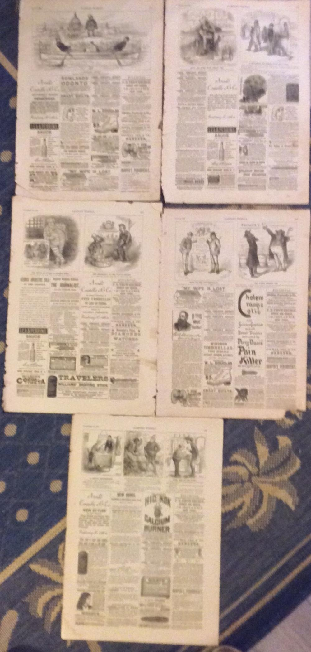 Lot Of (5) ANTIQUE 1886 Harper's Weekly 19th Century Double-sided Advertising Pages Each With Small Thomas Nast Cartoons