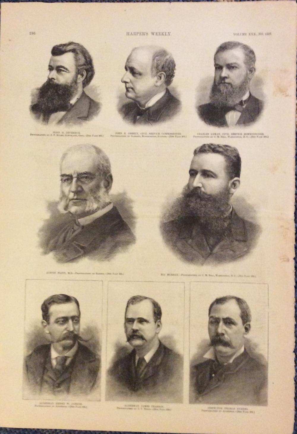 ANTIQUE 1886 Harper's Weekly Full Page Engraved Portraits Of (8) Various Late 19th Century Movers & Shakers