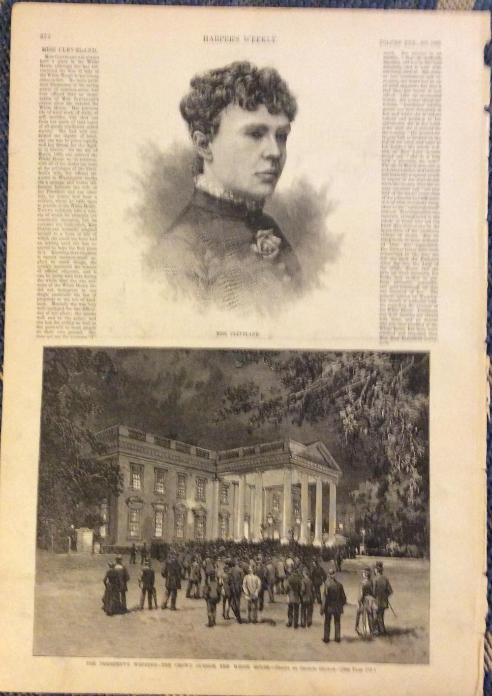ANTIQUE 1886 Harper's Weekly Full Page Engraved Portrait Of President Cleveland's Sister Rose & View Of White House During Wedding