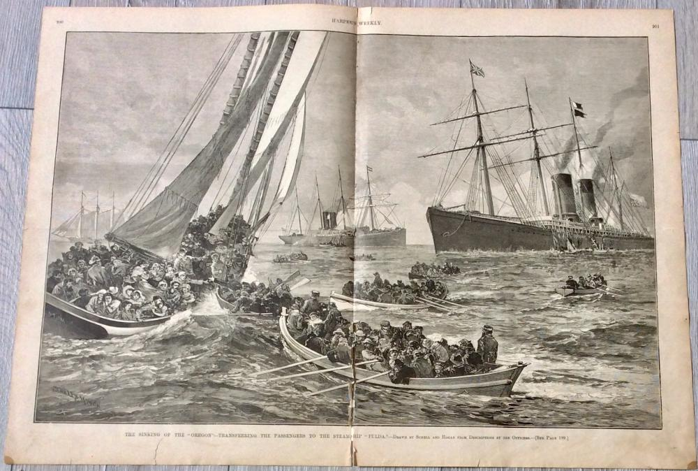 """THE SINKING OF THE OREGON"" 1886 Harper's Weekly DOUBLE PAGE Rescue Of Passengers From ""Oregon"" Drawn by Artists Schell & Hogan"