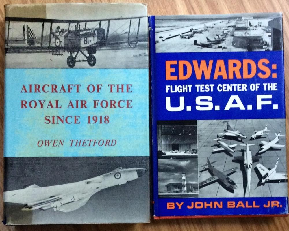 """Aircraft Of The RAF since 1918"" & ""Edwards: Flight Test Center Of T U. S. A. F."" VINTAGE Collectible Lot Of (2) Aviation History Hardcovers in DJs"