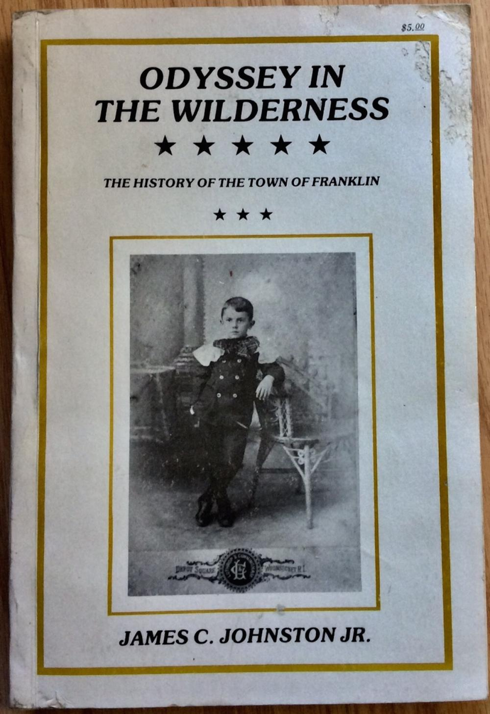 """Odyssey In The Wilderness"" by James Johnston VINTAGE 1978 Trade Paperback History Of The Town Of Franklin Massachusetts"