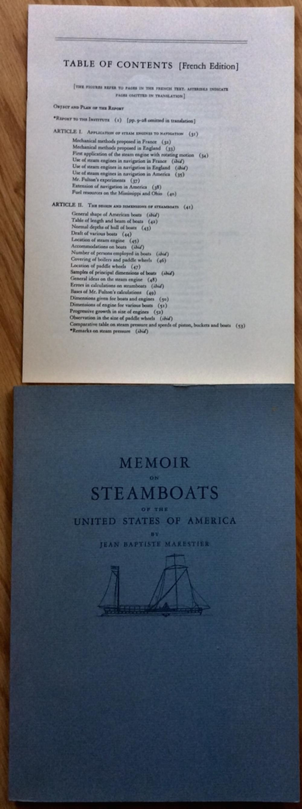 """Memoir On Steamboats Of The United States Of America"" by Jean Marestier VINTAGE 1957 Trade Paperback Nautical History Of Steamboat Development"
