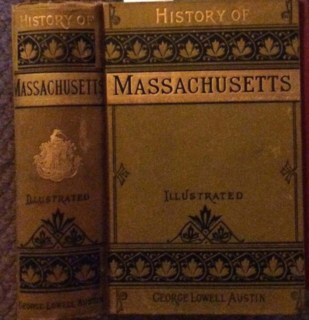 """The History Of Massachusetts"" by George Austin ANTIQUE 1884 Decorated Hardcover History Of Massachusetts"