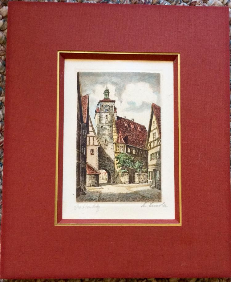 Collectible Original Pencil Signed & Titled Colored Etching In Mat