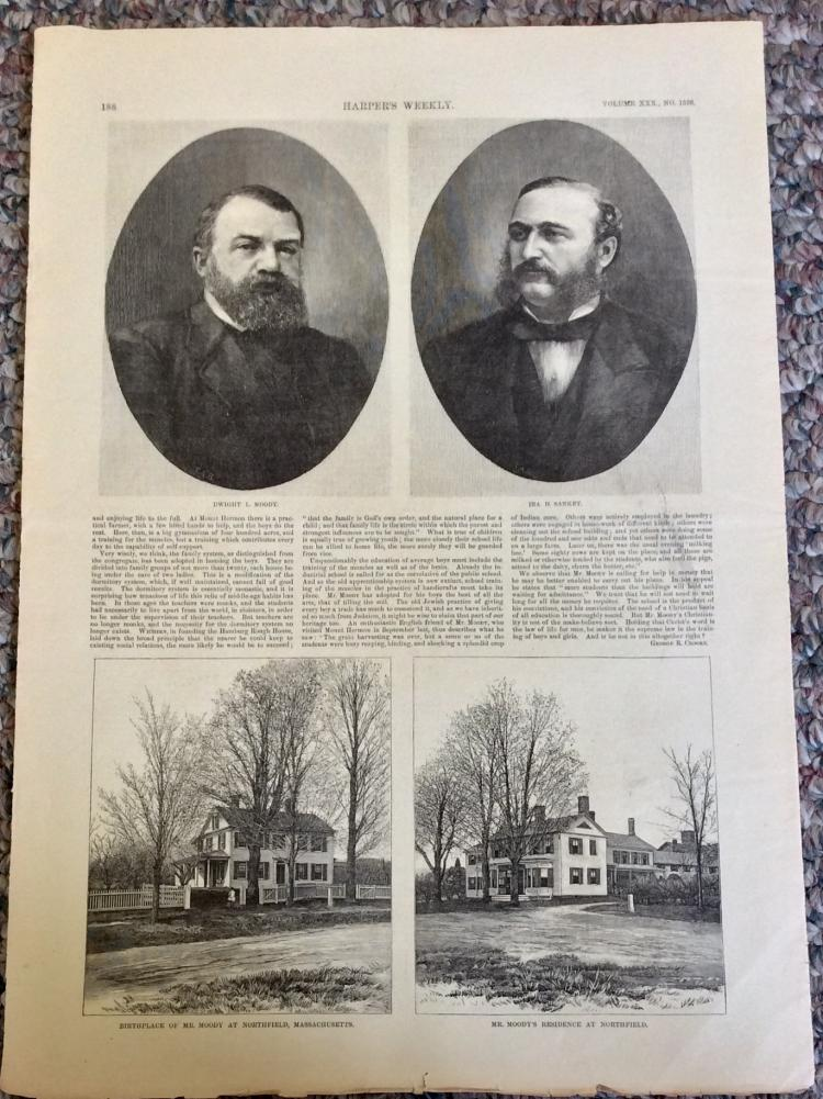 ANTIQUE 1886 Harper's Weekly Full Page Engraved Portraits Of Christian Reformers/Evangelists Moody & Sankey
