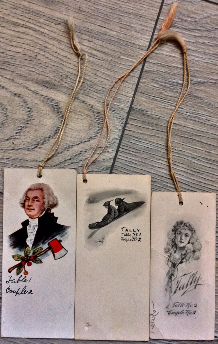 (3) ANTIQUE Art Deco lithograph Bridge Tally Cards Various sizes