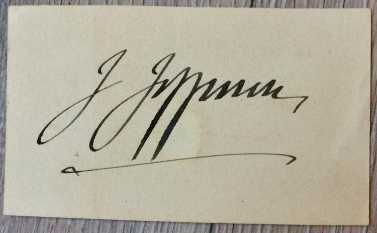 SIGNATURE On 2 1/2 high X 4 inch wide Card Of Noted American Actor Joseph Jefferson