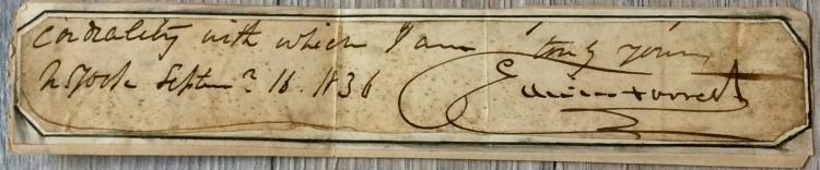 SIGNATURE SENTIMENT & DATE On 1 1/2 high X 8 inch wide Card Stock Of Noted American Actor Edwin Forrest