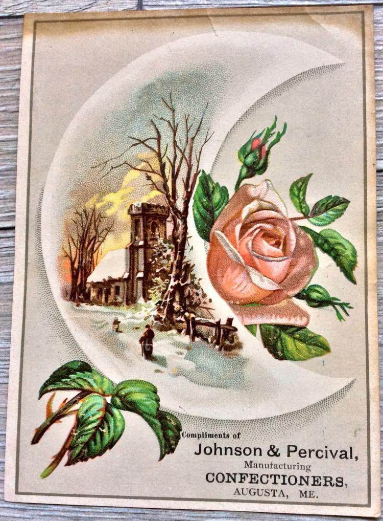 ANTIQUE 19th Century Color Chromolithograph Advertising Card 6 inches high X 4 1/2 inches wide