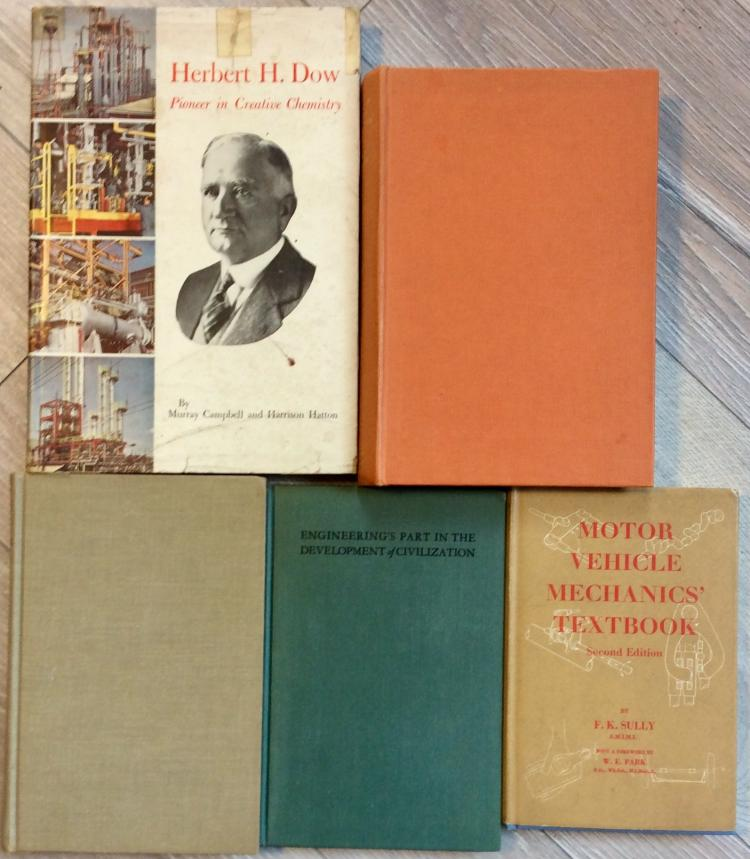 Collectible (5) Hardcover Technical Book Lot On Mechanics, Chemicals, Foundries, etc.