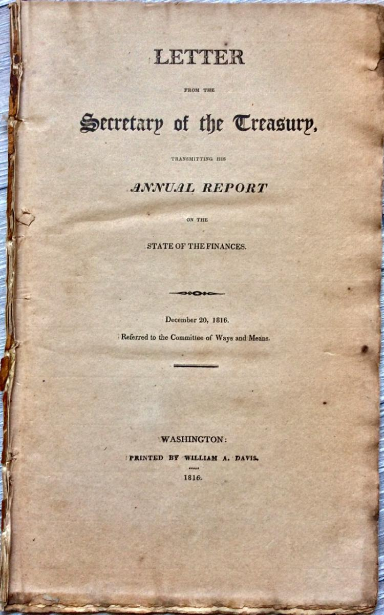 ANTIQUE War Of 1812 Treasury Gov Doc 1815-16 Signed in TYPE by Treasury Sec W. H. Crawford & Register Joseph Nourse