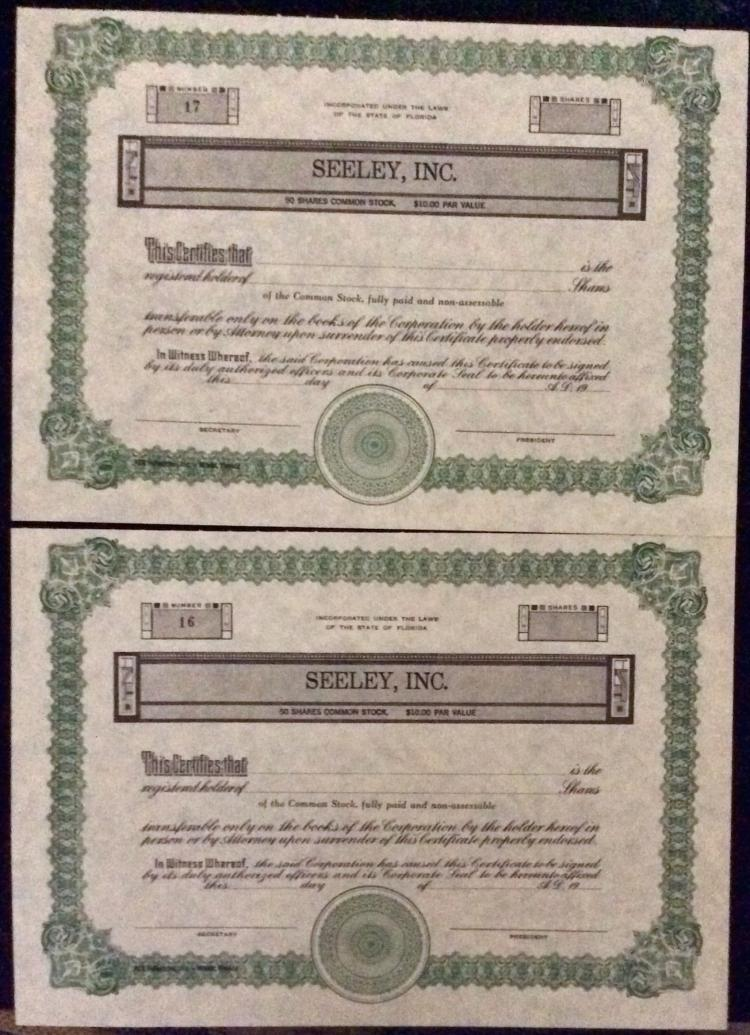 Lot of (2) Unaccomplished Stock Certificates For Seeley, Inc. Under Florida Law.
