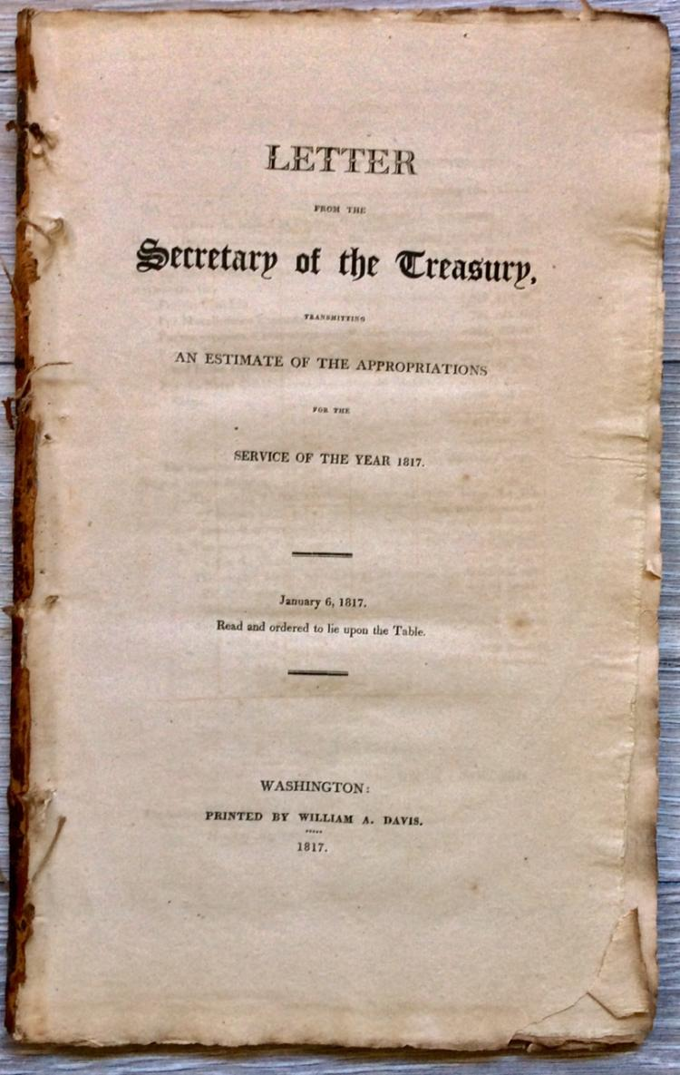 ANTIQUE Treasury Appropriations Gov Doc for 1817 Signed in TYPE by Treasury Sec W. H. Crawford & Register Joseph Nourse