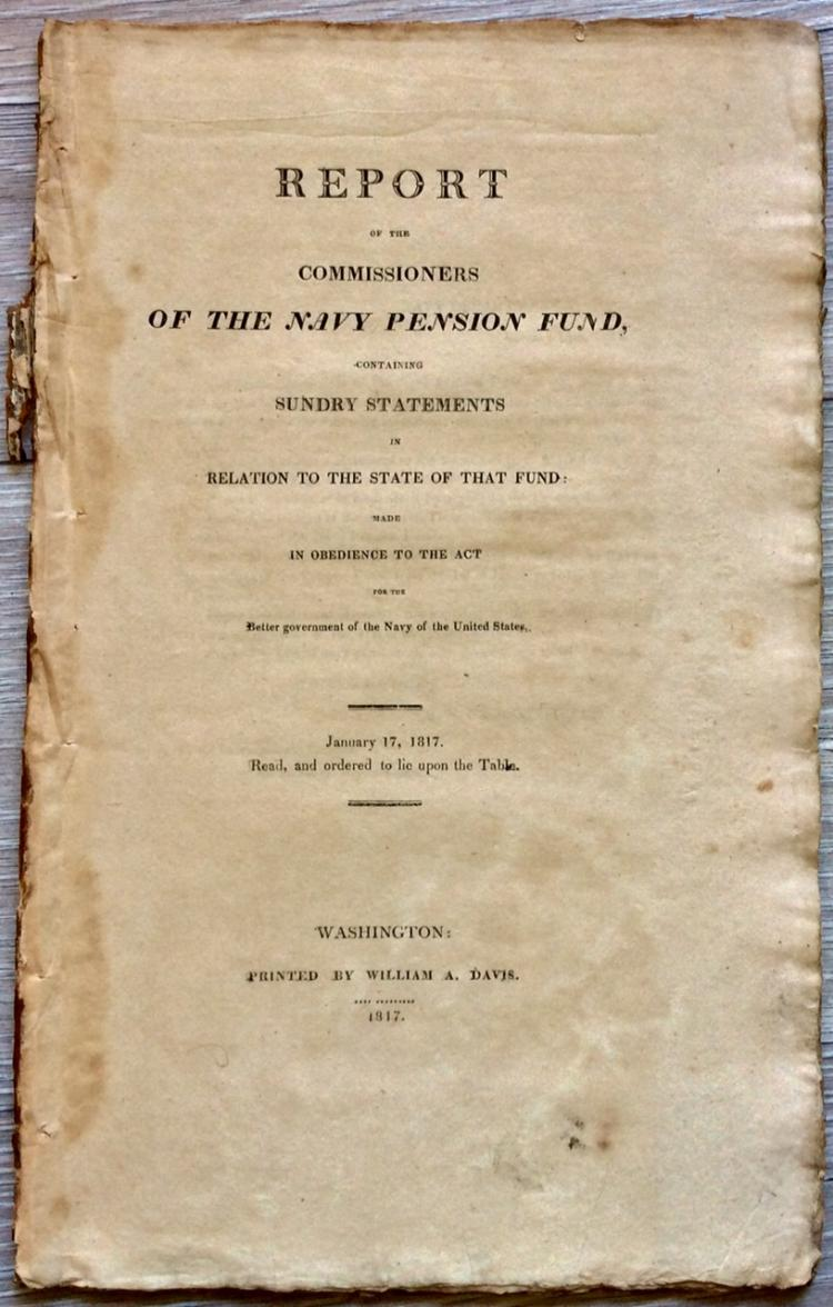ANTIQUE 1817 Gov Doc Of Navy Pensions Signed in TYPE by Navy Sec B W Crowninshield
