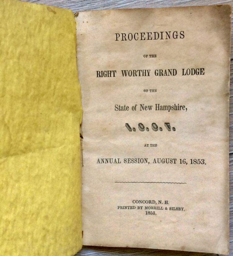 SCARCE ANTIQUE 1853 (28) page Proceedings Of The New Hampshire Odd Fellows