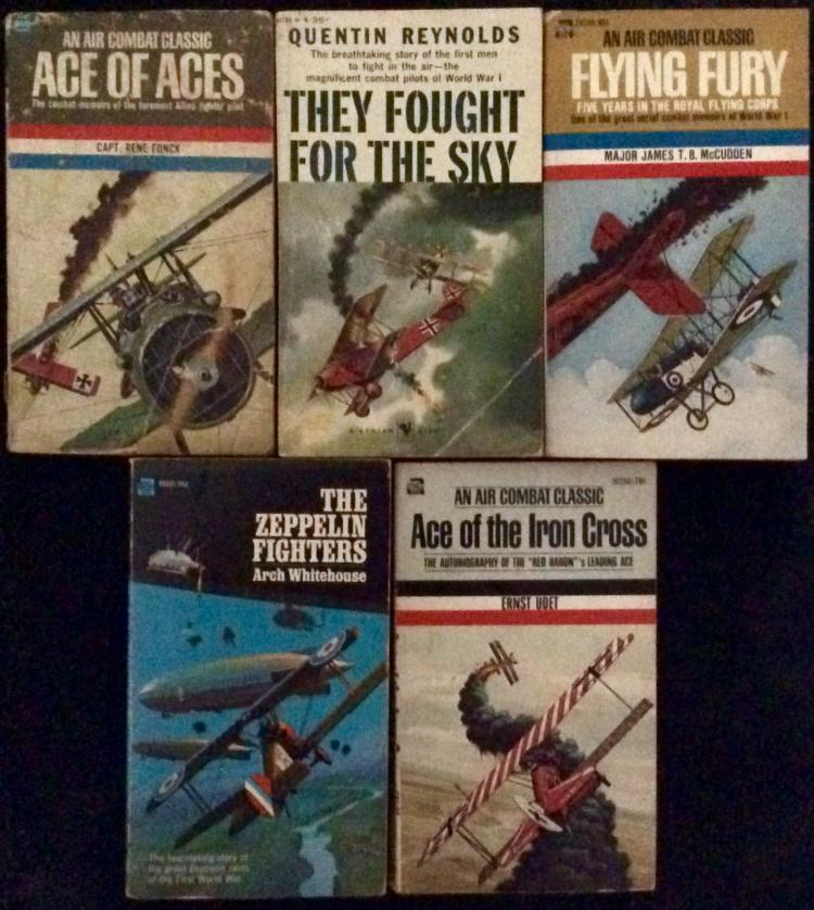 WWI Collection Of (5) VINTAGE Paperbacks On Aviation Warfare (4) are 1st Edition 1st Printings