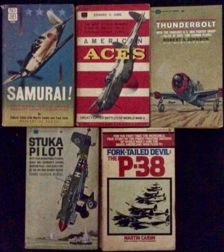 WWII Collection Of (5) VINTAGE Paperbacks On Aviation Warfare (2) are 1st Edition 1st Printings