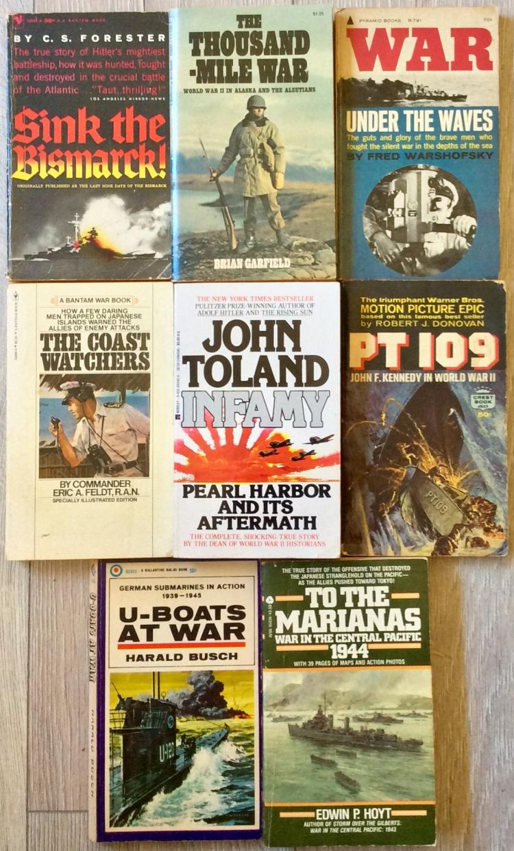 WWII Collection Of (8) VINTAGE Paperbacks On Naval Warfare (3) are 1st Edition 1st Printings