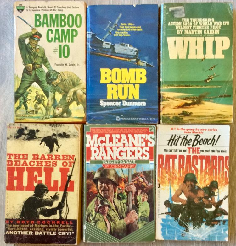 WWII Collection Of (6) VINTAGE MILITARY FICTION Paperbacks (5) are 1st Edition 1st Printings
