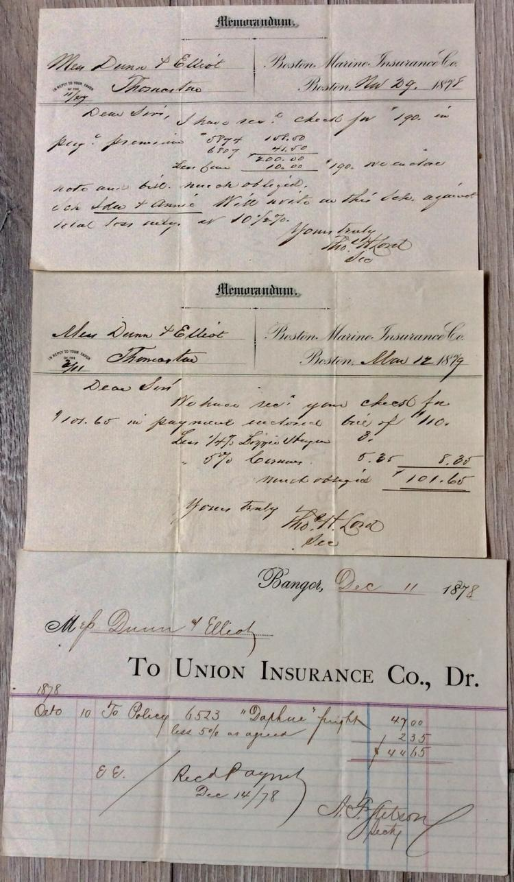 Nautical Paper ANTIQUE 1879-80 Schooner Insurance Memo For Schooners