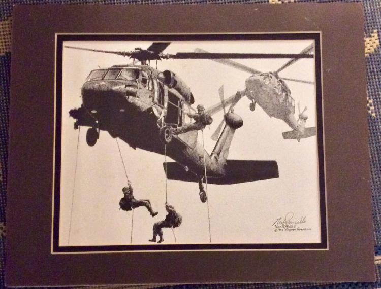 ORIGINAL 1994 Pencil Signed Nick Perriello Military Action Print 8 X 12 Matted Ready For Framing