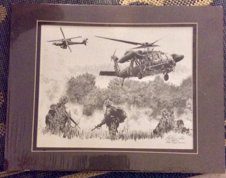 ORIGINAL 1995 Pencil Signed Nick Perriello Military Action Print approximately 8 X 12 Matted Ready For Framing