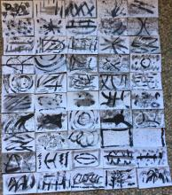 Outsider Art: Original Art 50 3X5 cards Abstract Working Drawings