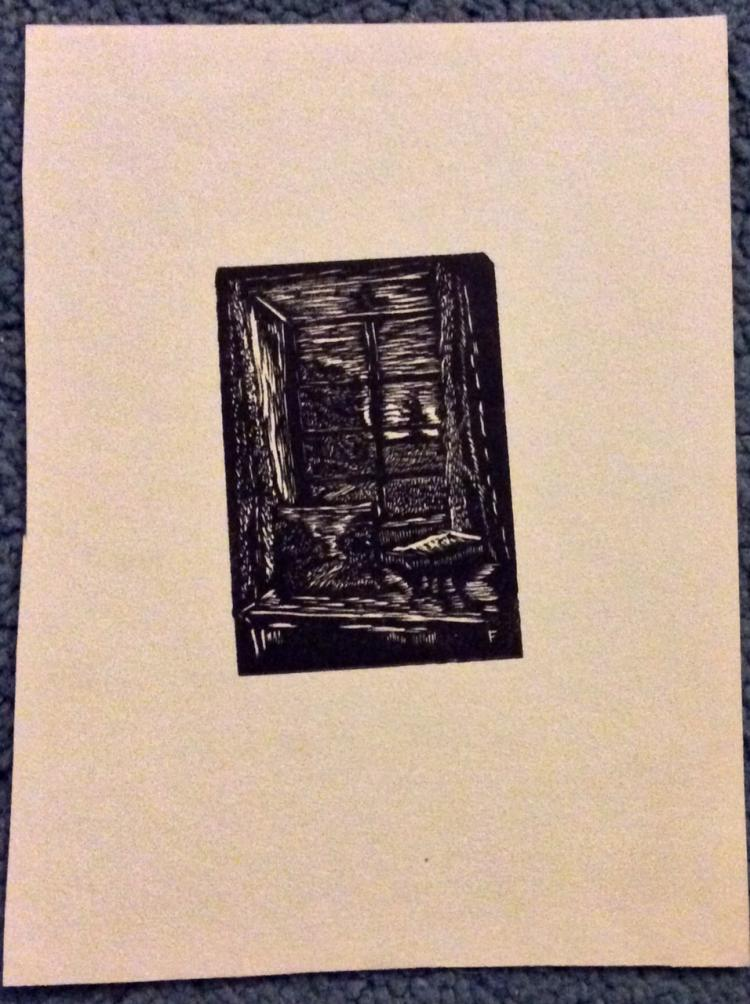 Roy C. Fox Original Wood Engraving Art Approximately 3 inches high X 2 inches wide plus margins