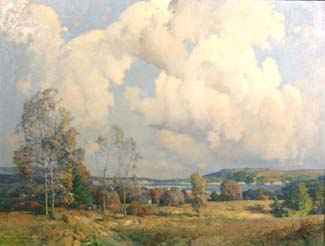 WILLIAM J. KAULA, (American, 1871-1953), oil on canvas, depicting a panoramic coastal landscape, 35