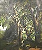 """MARCO ZIM, (American, 1880-1963), oil on canvas, depicting a forest landscape, 36"""" x 30"""", signed l.l."""