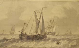 GERRIT GROENEWEGEN, (Dutch, 1754-1826), ink and wash drawing, depicting ships on a choppy sea, 11