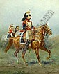 EUGENE PECHAUBES, (French, 1890-1967), two oils on canvas, depicting mounted 19th century military men, each 10