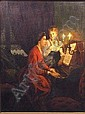 """PIETER WILLEM SEBES, (Dutch, 1830-1906), oil on canvas, """"Music by Candlelight"""", 32in. x 25in. signed l.l. (See illustration)"""