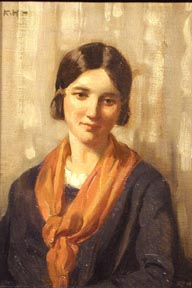 """ROBERT HOPE, (Scottish, 1869-1936), oil on board, depicting a portrait of a woman with red scarf, 14"""" x 10"""", signed in initials u.l."""