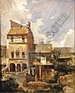 """FRANCOIS LOUIS BONNET, (French, 1811-1894), oil on board, depicting a landscape with houses, 15-1/2"""" x 12-3/4"""", signed l.r."""