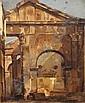 "FRANCOIS LOUIS BONNET, (French, 1811-1894), oil on canvas, depicting the Villa Borghese, 12-1/2"" x 10-1/2""."